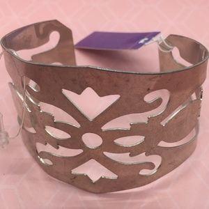 Silver tone cuff with geometric cutouts  NEW